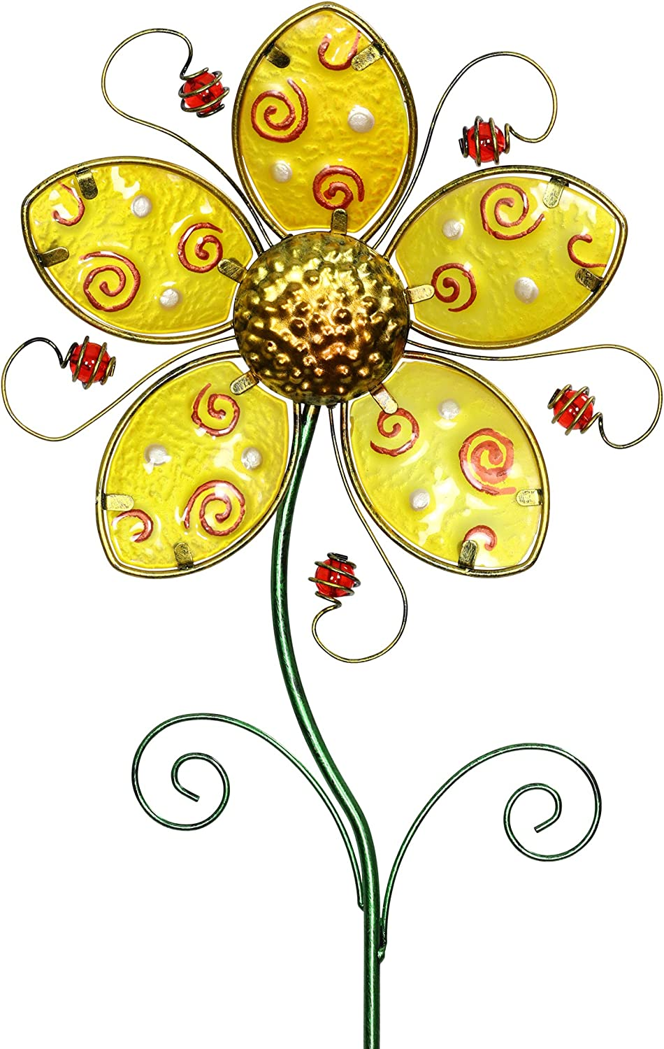 Exhart Whimsical Yellow Flower Garden Stake in Glass & Metal - Yellow Flower Metal Stake Hand-Painted with Fade-Resistant Metallic Coat - Flower Stake Garden Décor, Outdoor Ornament, 11 x 36 Inches
