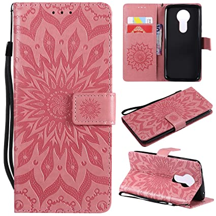 A-slim Moto E5 Plus Case Moto E5 Supra Wallet Case,PU Leather Case Sun Flower Pattern Embossed Purse with Kickstand Flip Cover Card Holders Hand Strap ...