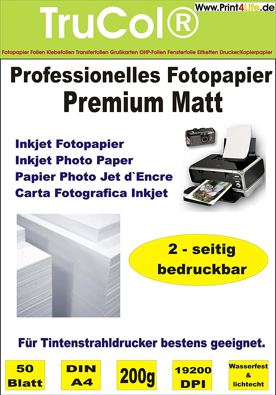 Beidseitig 50 Blatt DIN A4 200g /m² PREMIUM MATT Fotopapier matt ...