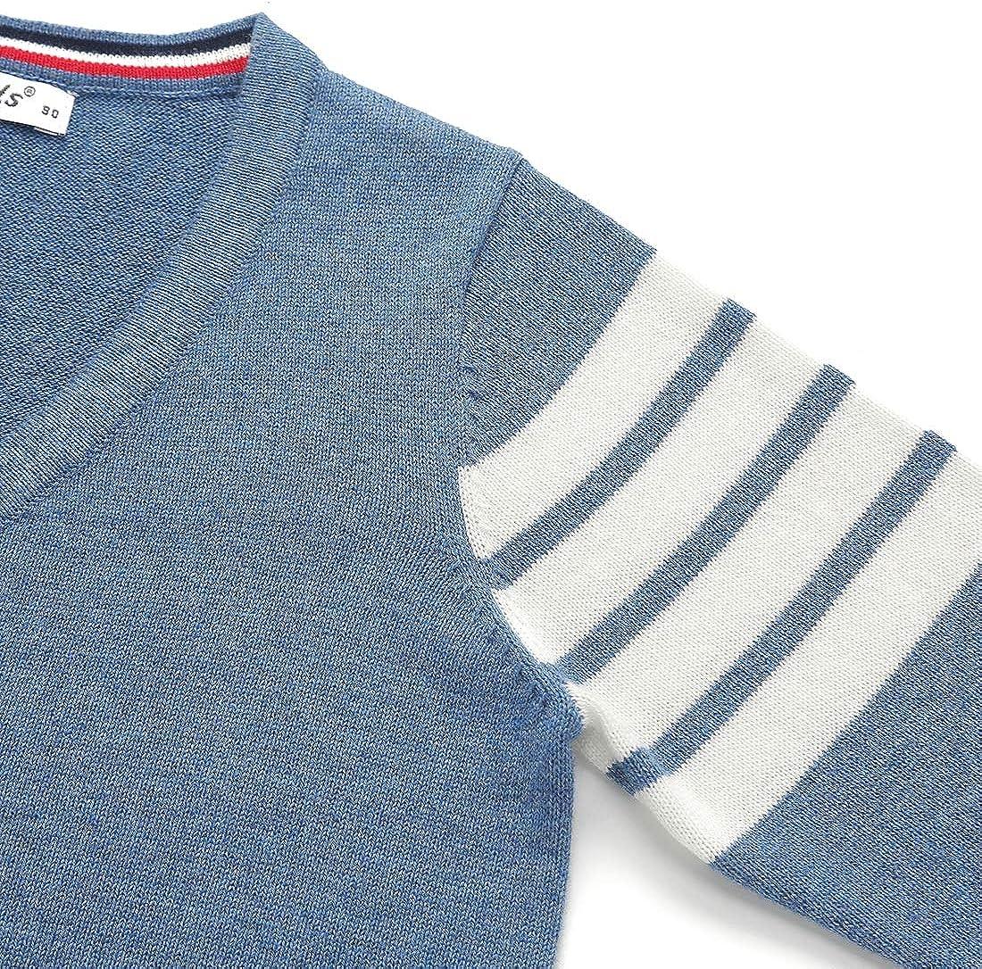 Boys V-Neck Lightweight Uniform Sweater Long Sleeve Stripe Pattern Cardigan
