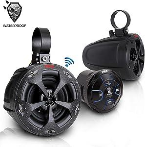 2-Way Dual Bluetooth Off-Road Speakers - 4 Inch 800W Marine Waterproof Wakeboard Speakers, Full Range Outdoor for ATV, Snow Mobile UTV, Quad, Jeep, Boat - Pyle PLUTV46BTA