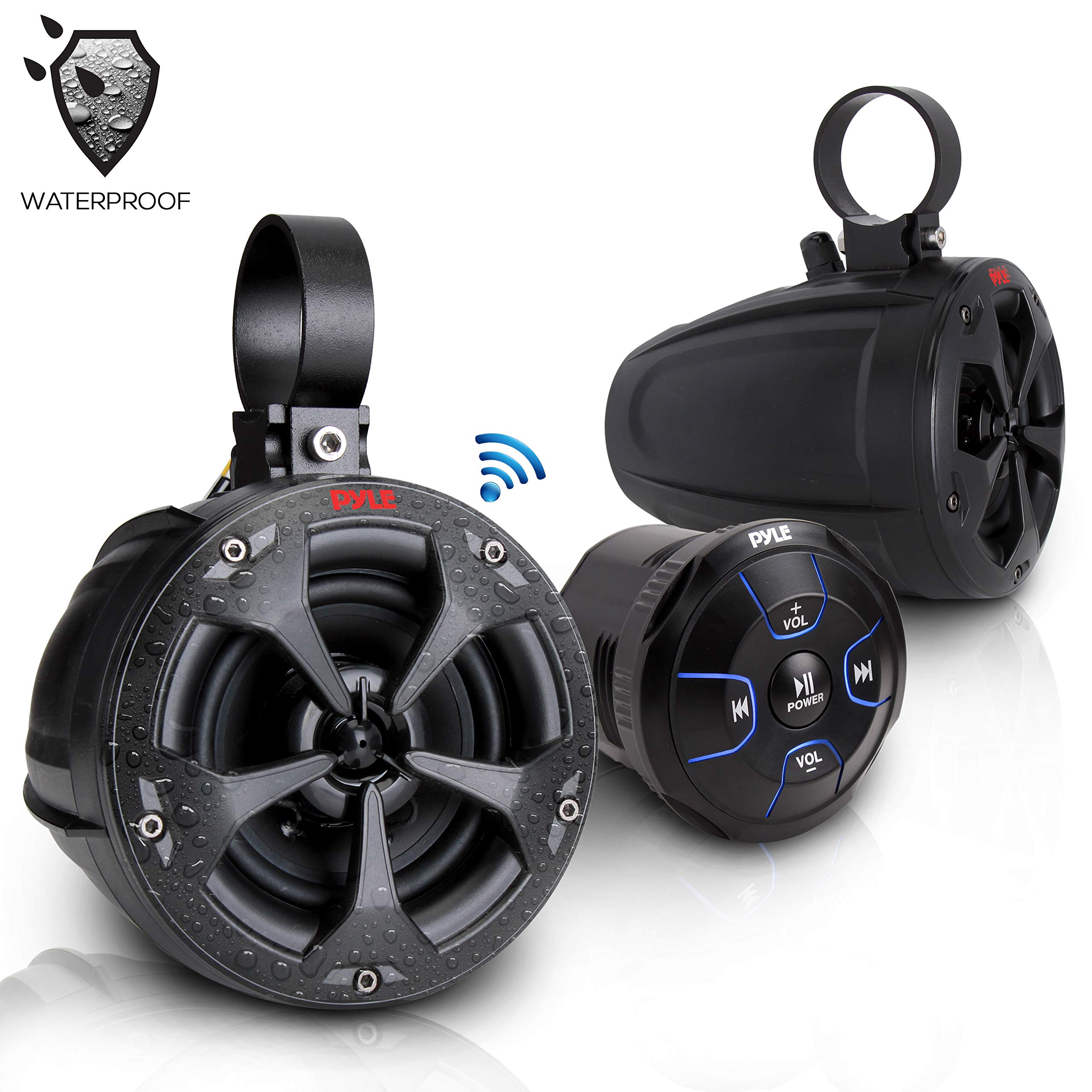 2-Way Dual Bluetooth Off-Road Speakers - 4 Inch 800W Marine Grade Waterproof Wakeboard Tower Speakers System, Full Range Outdoor Audio Stereo Speaker for ATV, UTV, Quad, Jeep, Boat - Pyle PLUTV46BTA by Pyle