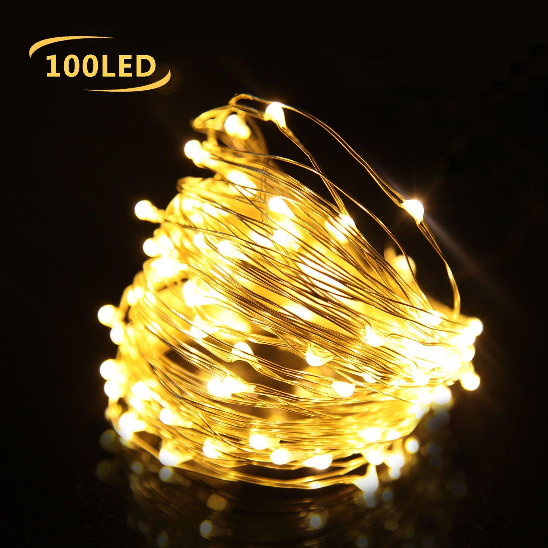 LED lichterkette mit batterie 10M 100er, Kupferdraht Lichterketten ...