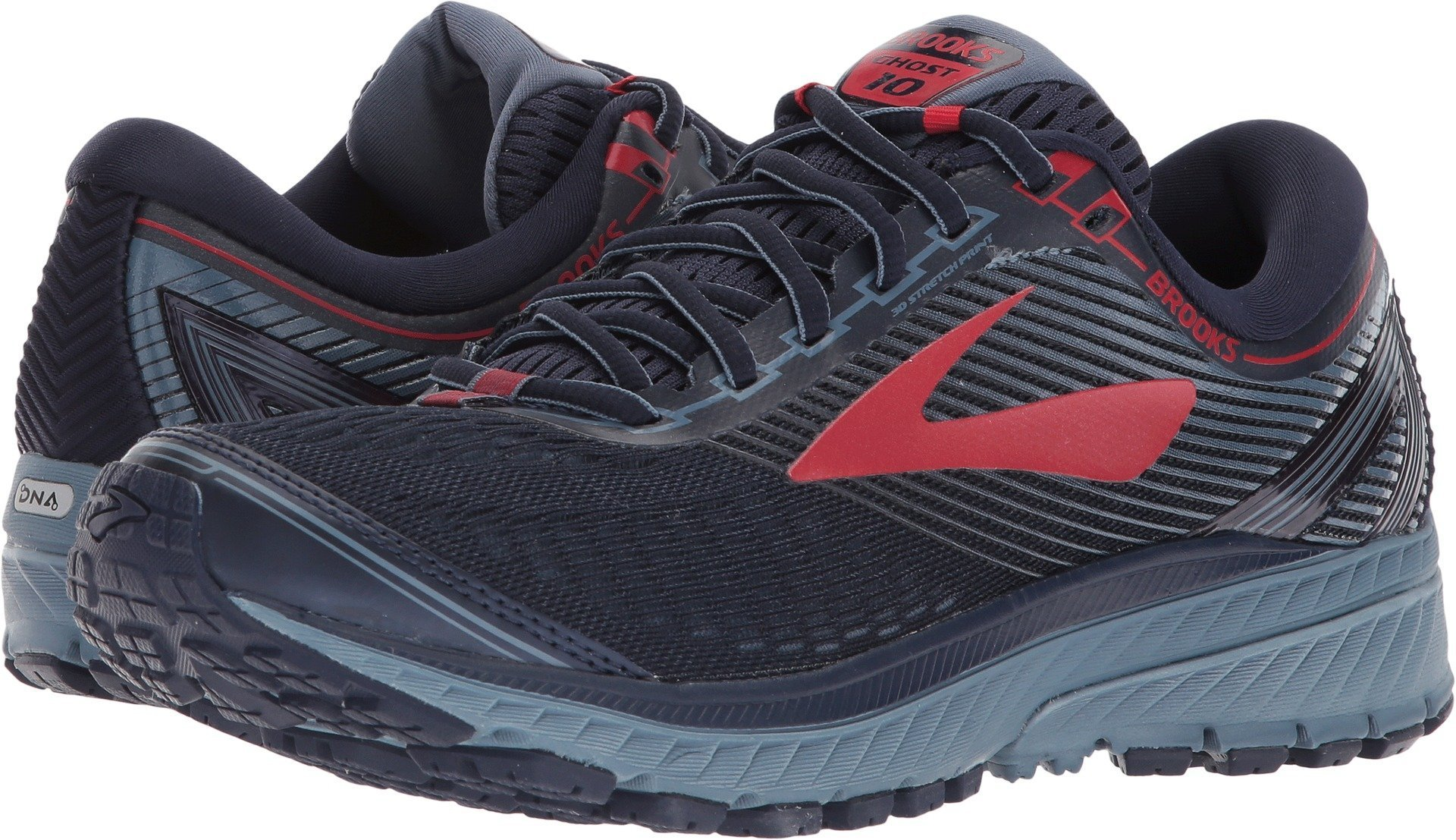 f17cb9674e5 Galleon - Brooks Men s Ghost 10 Navy Blue Red 10.5 D US