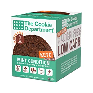 The Cookie Department - Keto Cookies, Gluten Free Certified, Non-GMO, Low Carb, No Sugar Added Snack Food (Mint Condition - Double Chocolate Chip + Mint, 2oz, Pack of 8)