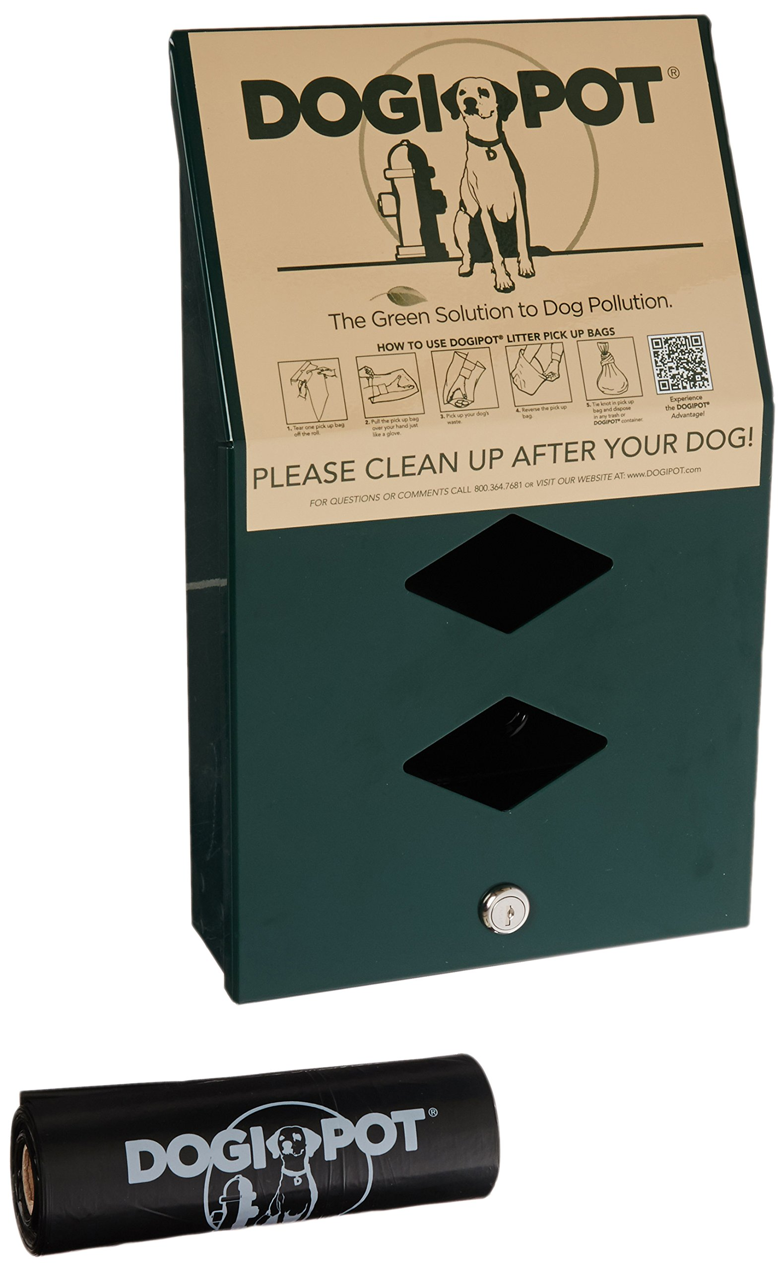 DOGIPOT 1002-2 Junior Bag Dispenser with Litter Bag Rolls, Aluminum, Forest Green by Dogipot