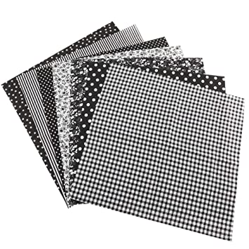 Bedding Cotton Fabric 2525 7pcs 2525cm Cotton Fabric DIY Assorted Squares Pre-Cut Bedding Suite Quarters Bundle Black Bedspread Bedding Cotton Fabric