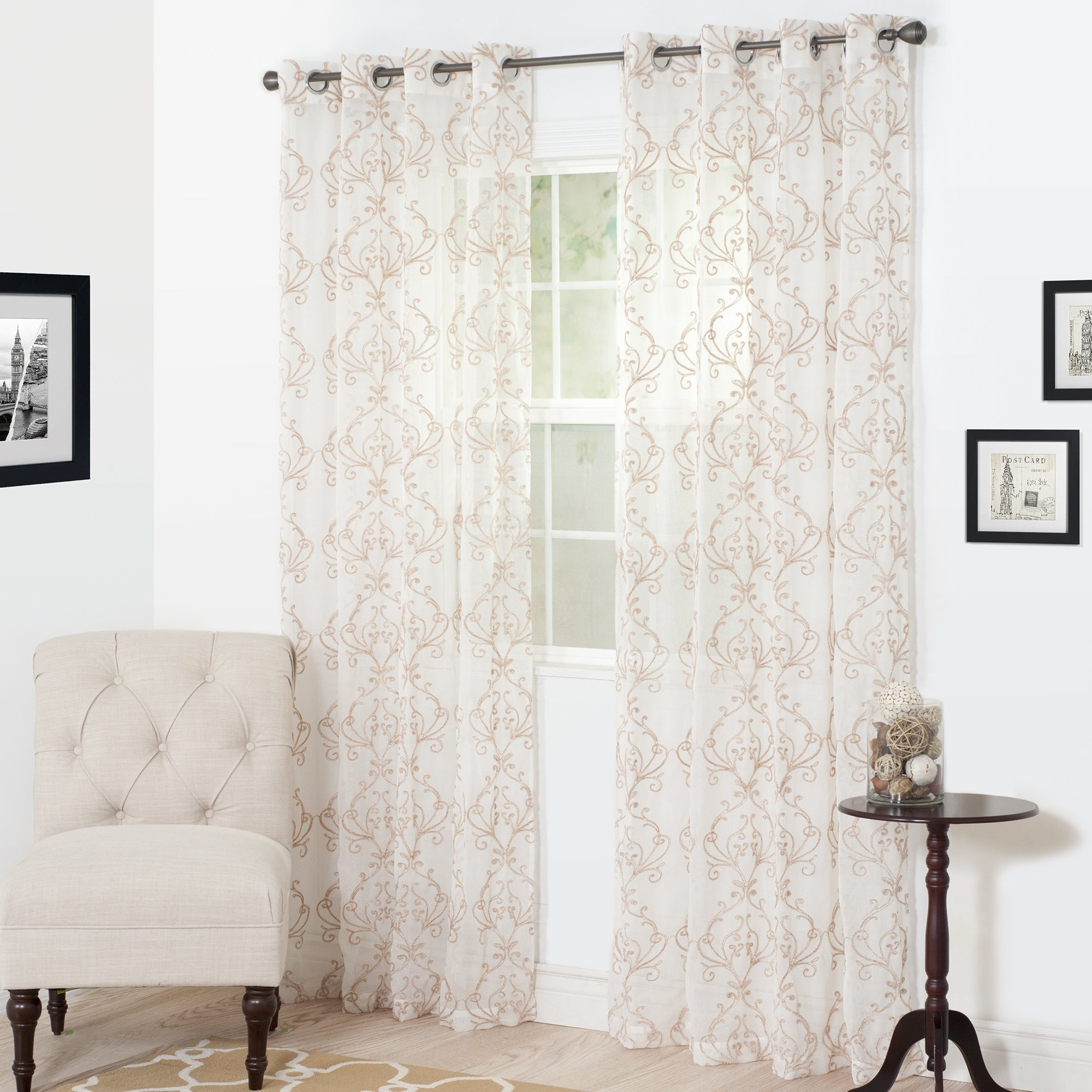 Lavish Home Valencia Embroidered Curtain, 108'', Taupe