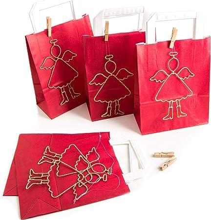 10 Angelo Oro Sacchetti regalo rosso Natale 18 x 8 x 22 cm