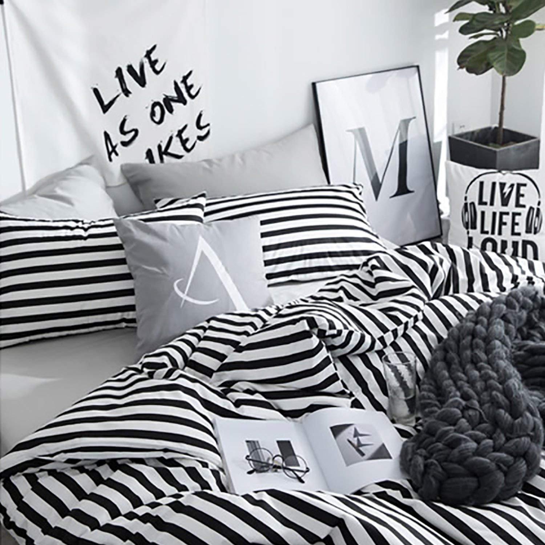 karever Black White Striped Duvet Cover Queen Vertical Ticking Stripe Bedding Full 3 PCs Cotton Comforter Cover Set for Boys Girls by karever (Image #5)