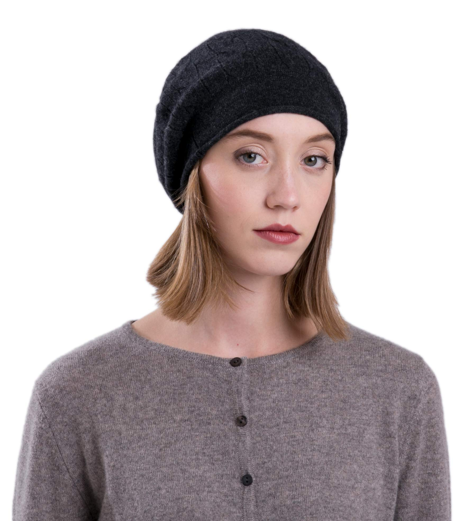 LEBAC 100% Cashmere Cable Knit Beanie Hat Charcoal