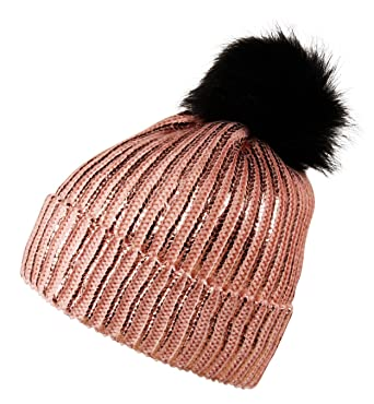 7c46538a59e Itzu Womens Ribbed Shiny Striped Beanie Hat Faux Fur Bobble Pom Pom Winter  Turn Up Pink (Black)  Amazon.co.uk  Clothing