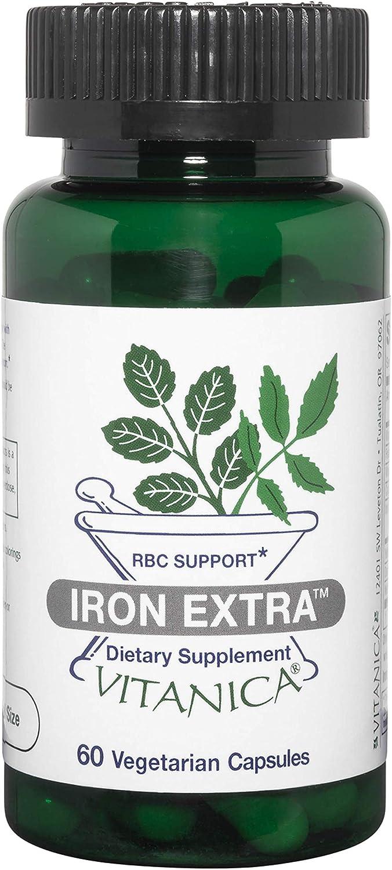 Vitanica Iron Extra, Enhanced Iron Absorption Supplement, Vegan/Vegetarian, 60 Capsules