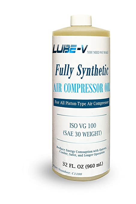 Lube-V 100% Synthetic Air Compressor Oil for Piston type Compressor, ISO VG