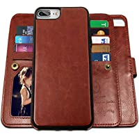 iPhone 8 Plus Case,iPhone 7 Plus Wallet Cases with Detachable Slim Case with 9 Card Slots,Stands,Strap for Apple iPhone…