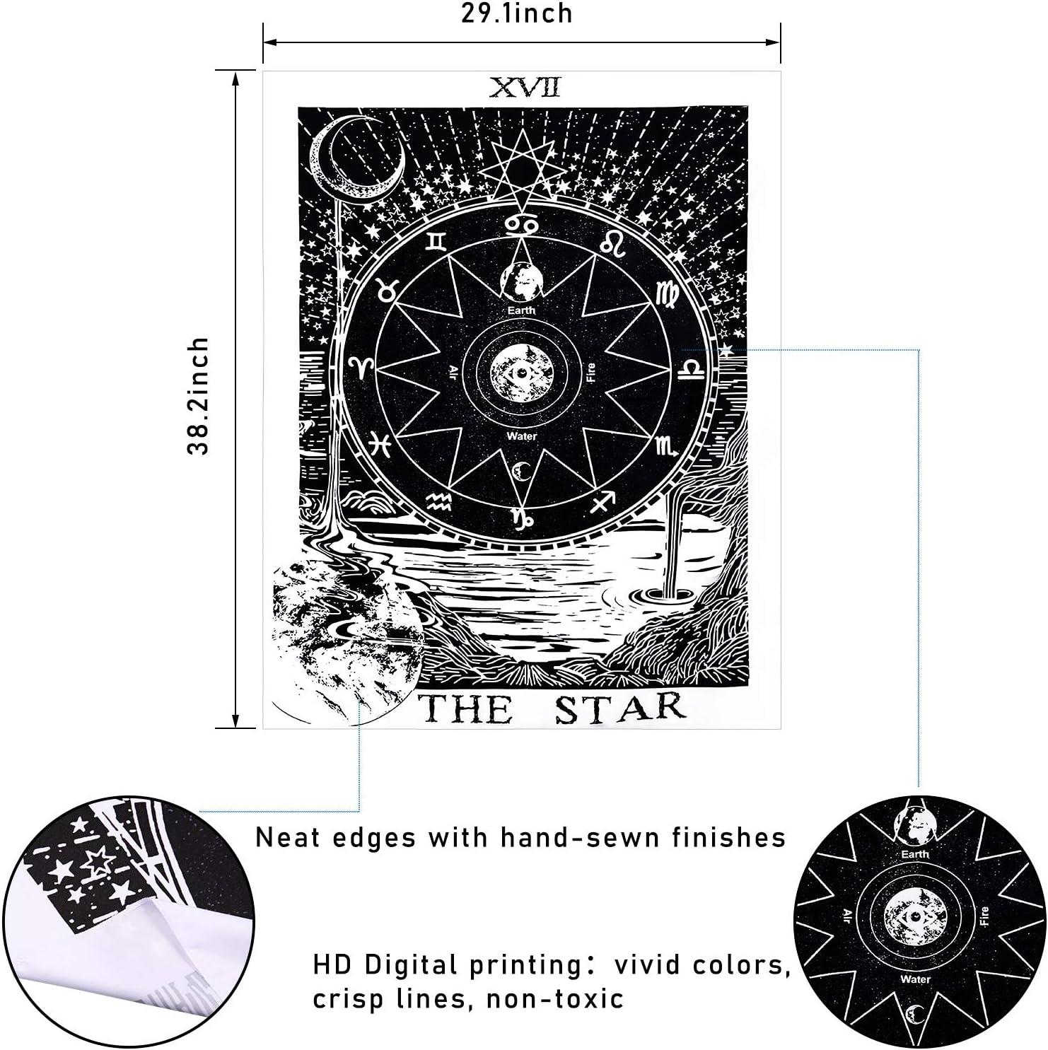 29,1 x 38,2 Pollici 3 Pezzi Arazzo dei Tarocchi Il Sole la Luna la Stella Arazzo di Carta dei Tarocchi Arazzo di Divinazione dellEuropa Medievale Misterioso Arazzo da Parete per Decor Casa