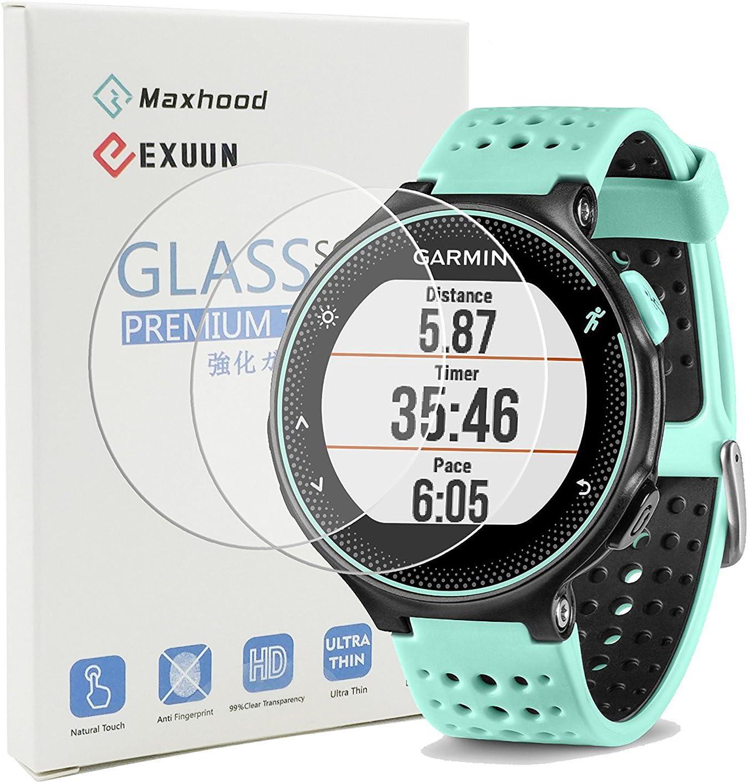 Maxhood (2-Pack Garmin Forerunner 235 225 630 620 230 220 Protector de Pantalla de Cristal Templado, Real 0,26 mm 2.5d Round Edge Premium Reloj Vidrio Templado Protector de Pantalla: Amazon.es: Electrónica