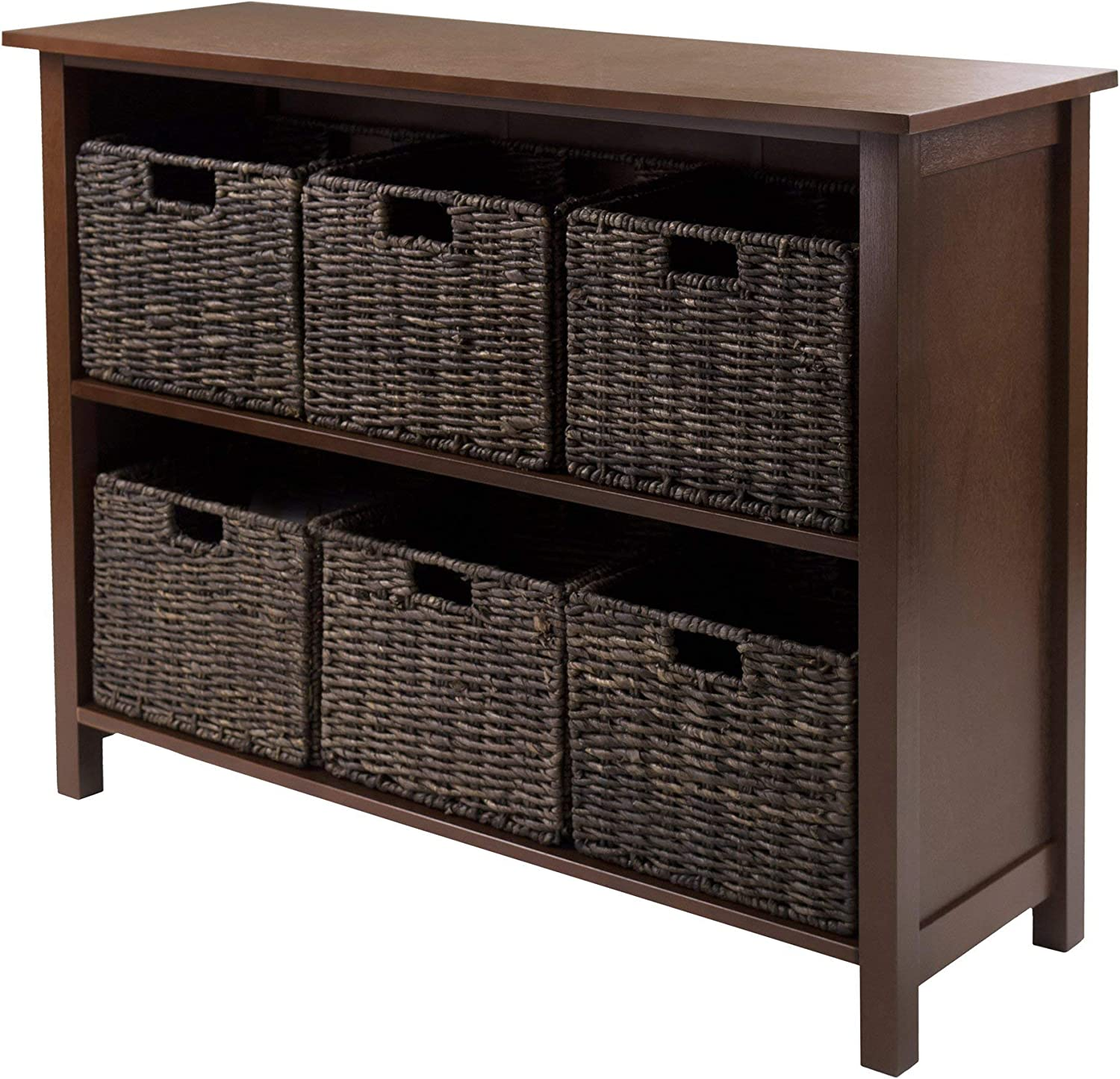 Winsome Granville 2-Section 7-Piece Storage Shelf Wide with 6-Foldable Baskets