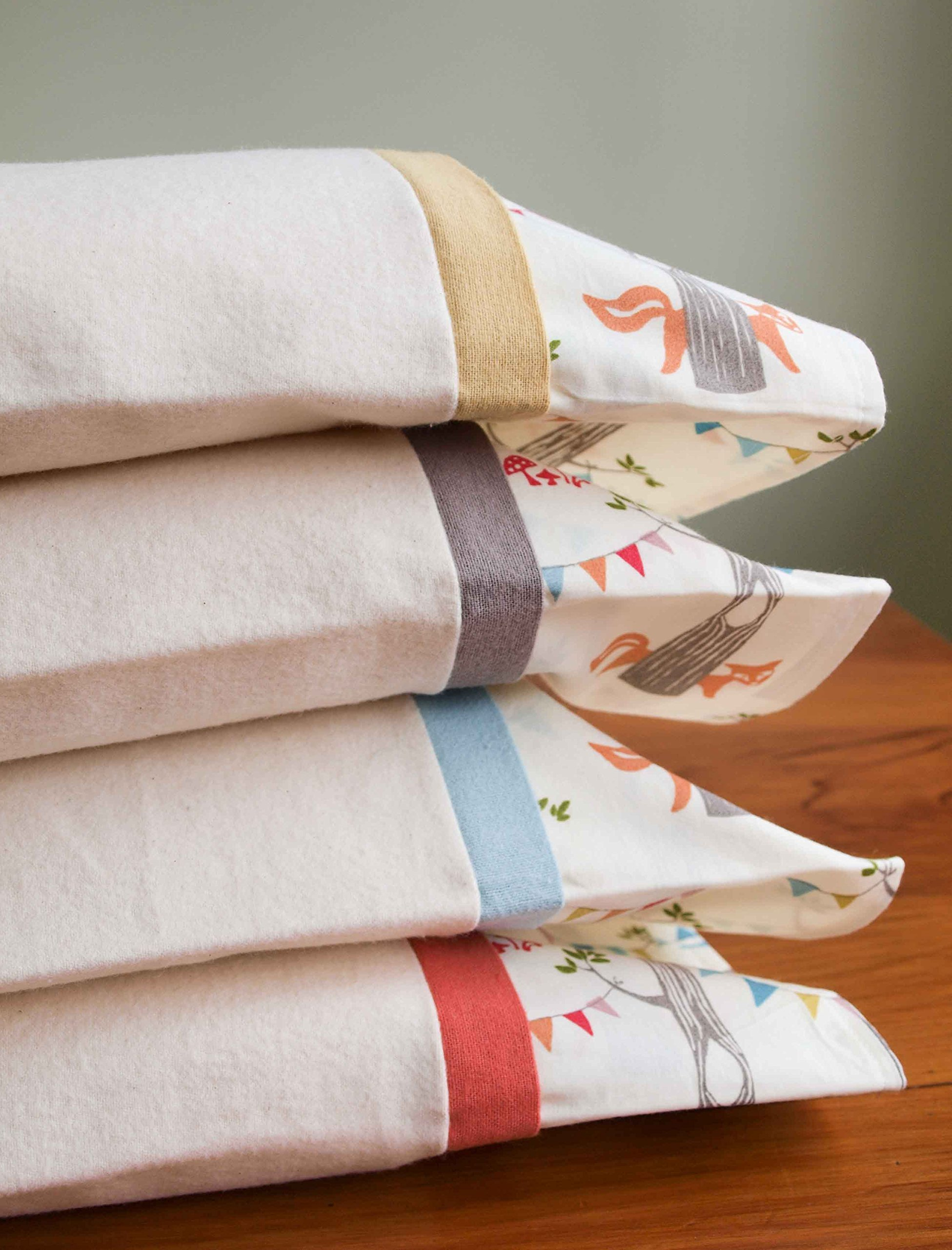 Flannel Toddler Pillowcase, Organic Cotton with Woodland Party
