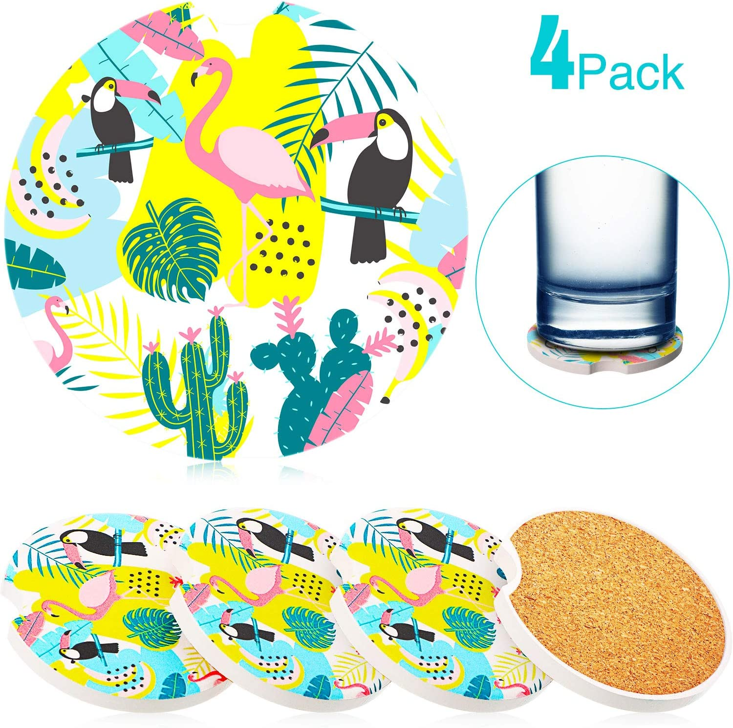 4 Pieces Summer Flamingo Coasters for Car Hawaii Drink Pad Mats with Absorbent Ceramic Stone and Cork Base Round Auto Cup Holder for Vehicle Household Office Bar in Summer Party Accessories 2.56 Inche