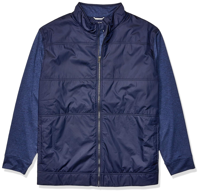 Liberty Navy 1X Big Cutter & Buck Men's Moisture Wicking Drytec Heathered Stealth Full Zip Jacket Fleece