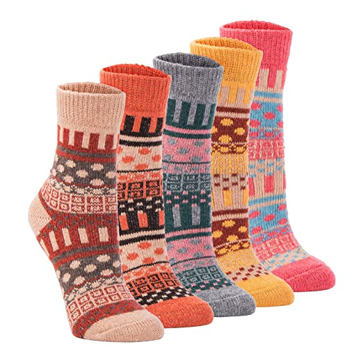657abdcc62149 Yannik Women's 5 Pair Pack Vintage Style Cotton Knitting Wool Winter Crew  Socks