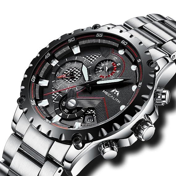 Relojes Hombre Acero Inoxidable Reloj de Pulsera de Lujo Moda Cronometro Impermeable Fecha Calendario Analogicos Cuarzo Reloj Militar Deportivo Cronógrafo ...