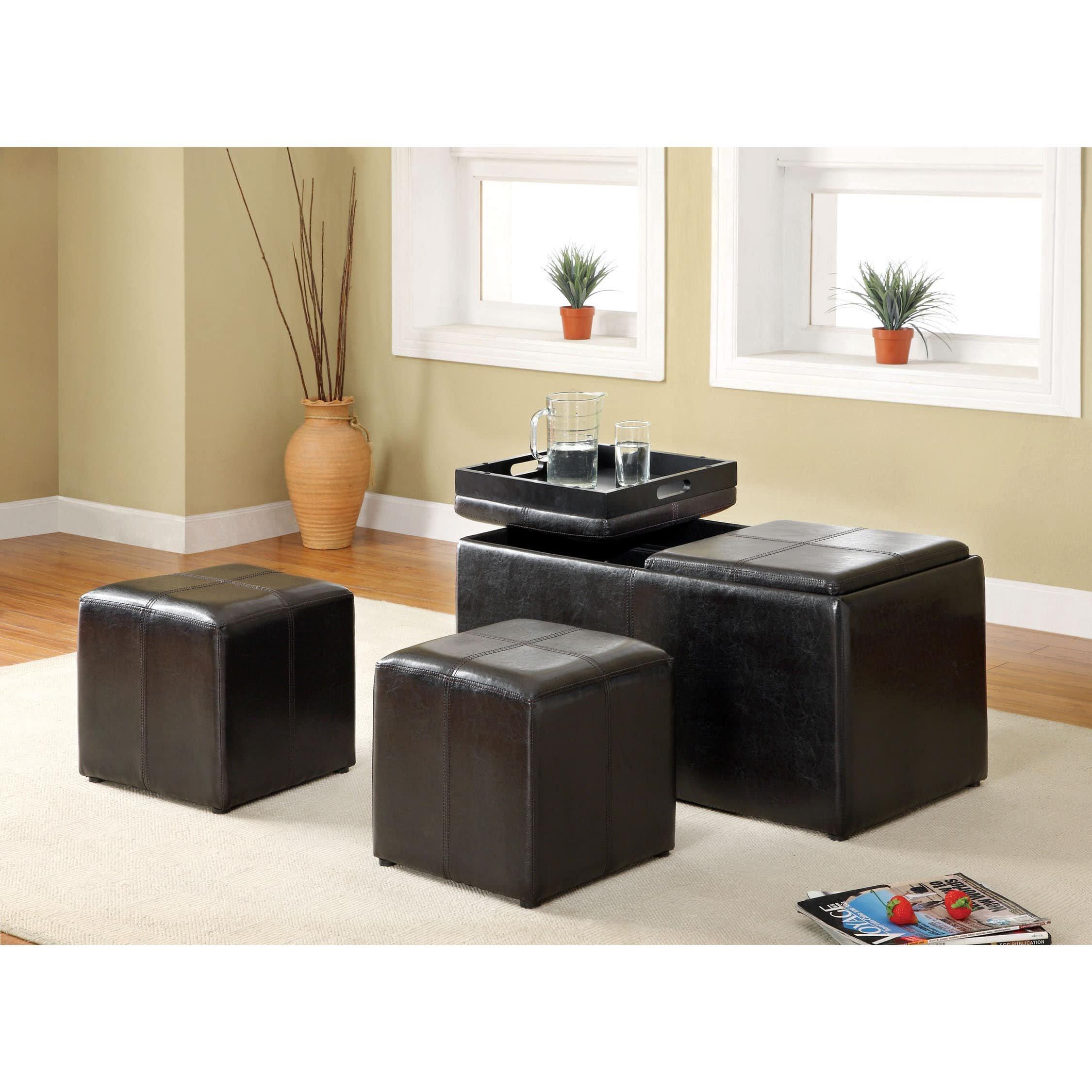 Furniture of America Carline 3-Piece Leatherette Nesting Ottoman Set