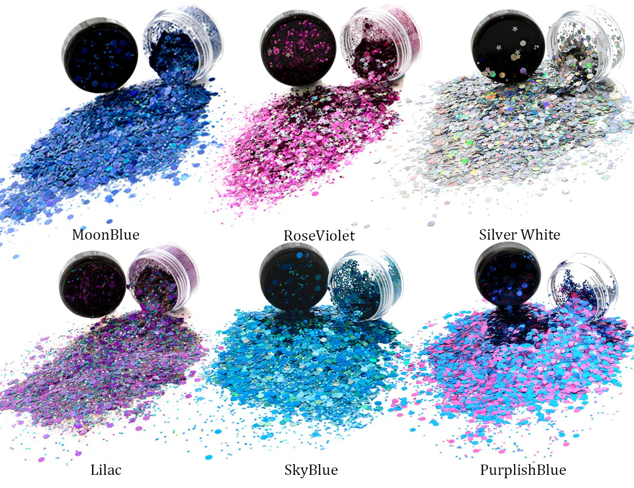 HITOP Colorful Cosmetic Chunky Glitter Festival Beauty Makeup Decoration for Body Face Nail Hair Eyes or Lips &DIY Crafts- Includes Long Lasting Free Fix Primer (6 Colors Set4) by HITOP (Image #2)