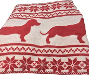 INUP Home Fine Linens Dachshunds ReversibleThrow Blanket 51 x 67 - Red