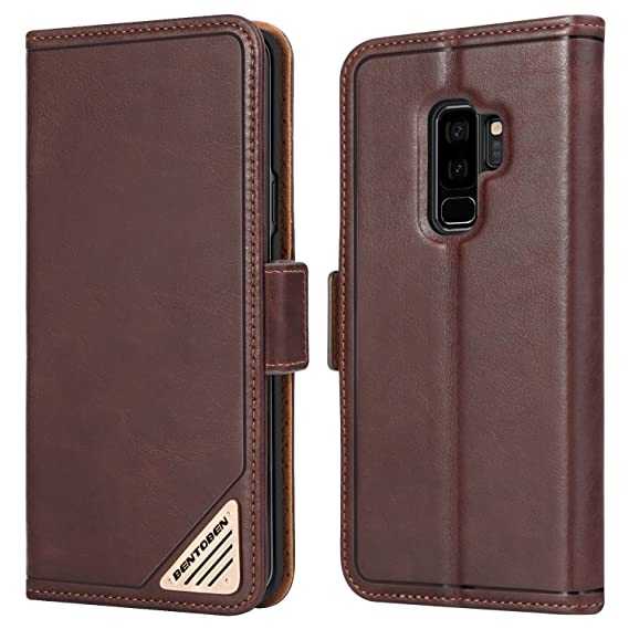 promo code b7a38 719ba BENTOBEN Galaxy S9 Plus Wallet Case,Slim Genuine Leather Magnetic Closure  Folio Flip [Credit Card Slot + Cash Pocket] Purse with Kickstand Feature ...