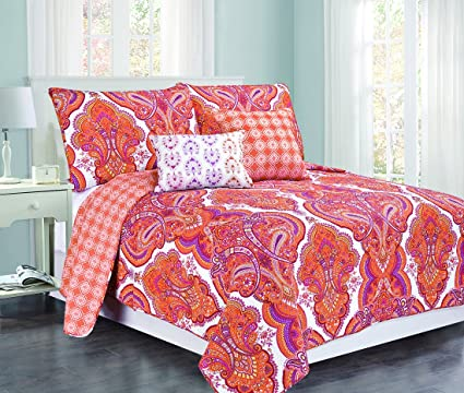 Great Design Studio Brilliance Paisley Cotton Quilt, Twin, Orange/Pink