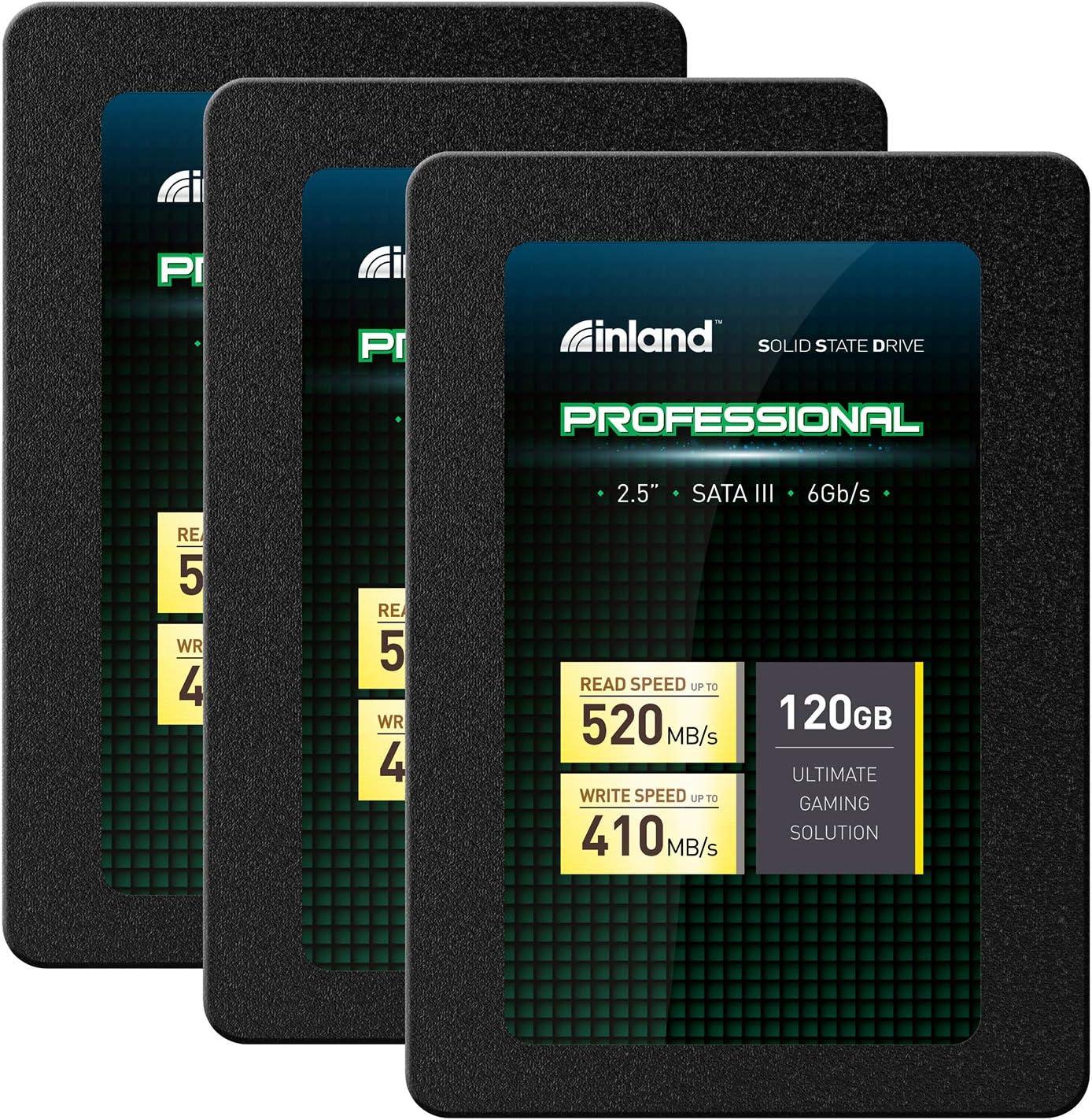 """Inland Professional 120GB SSD 3D TLC NAND SATA III 6GB/s 2.5"""" Internal Solid State Drive (120GB) - 3 Pack"""