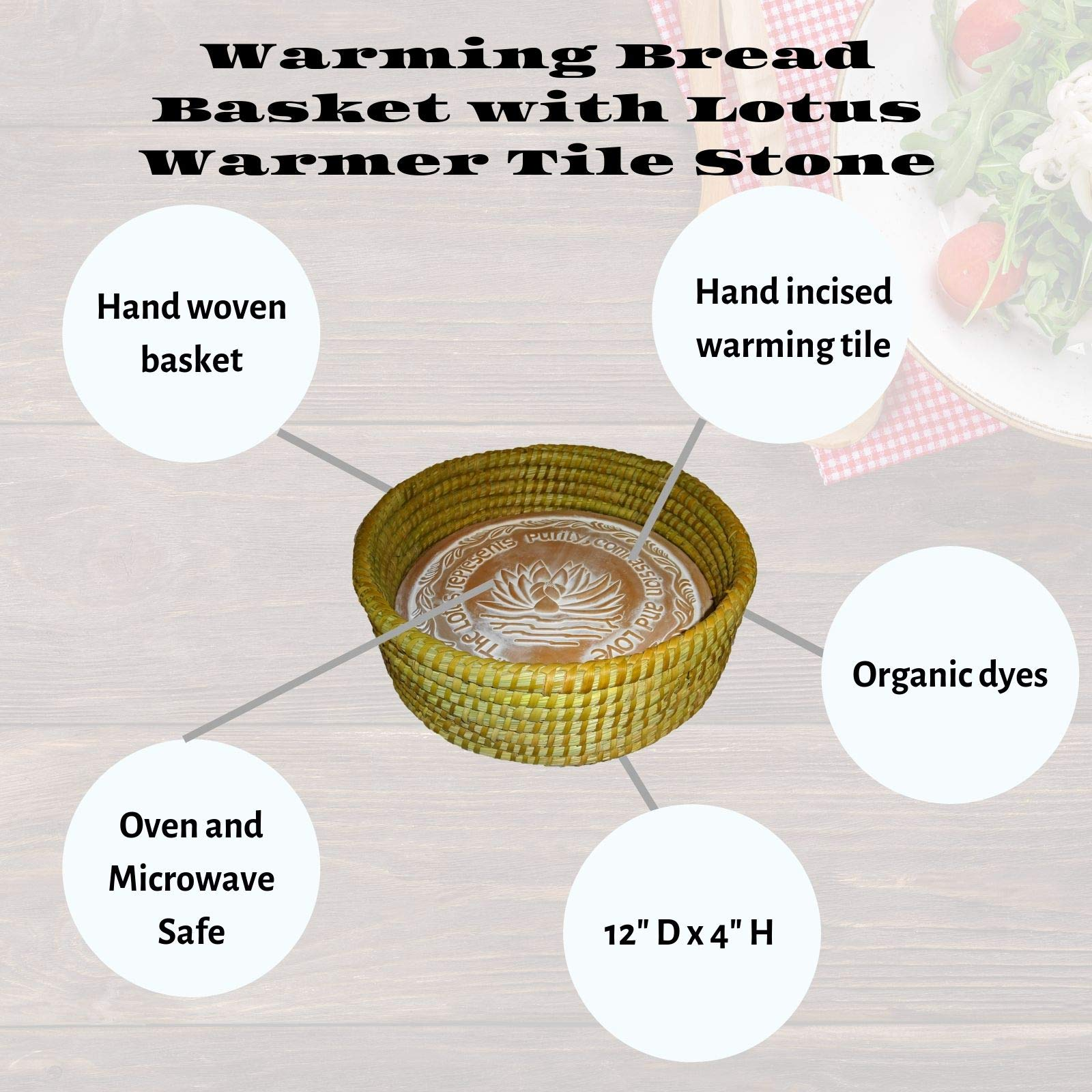 The Crabby Nook Warming Bread Basket with Lotus Warmer Tile Stone Hand Woven For Rolls Appetizers (12 Inch Natural) by The Crabby Nook (Image #4)