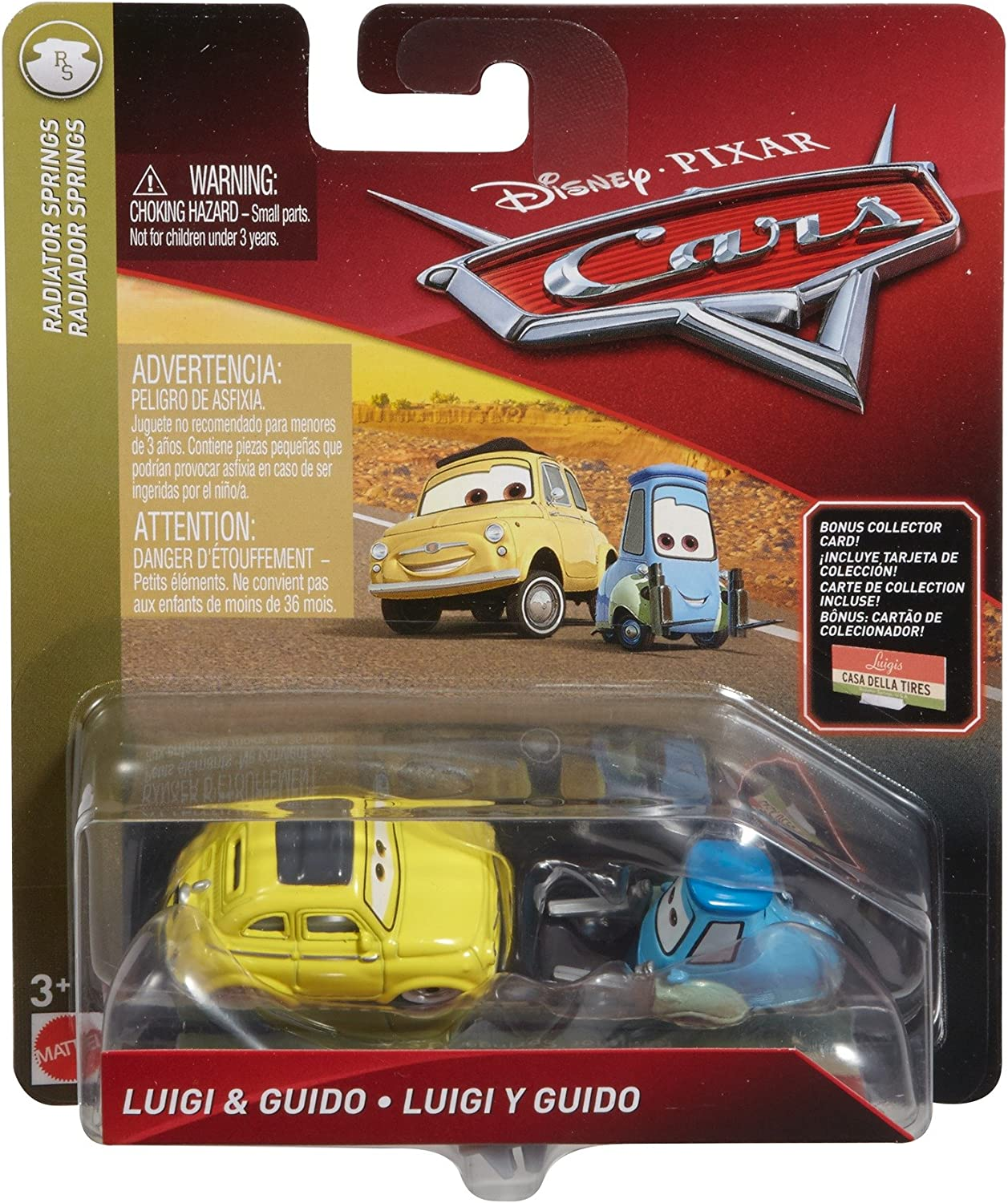 Disney Pixar Cars Die-cast Guido & Luigi with Accessory Card Vehicle
