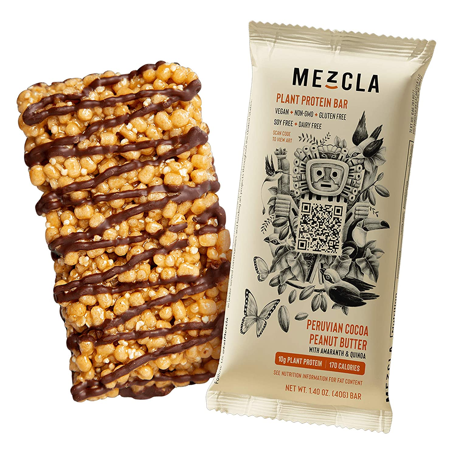 Mezcla Vegan Plant Protein Bars - Peruvian Cocoa PB: Premium Ingredients, Delicious Flavor, 10G of Protein, Gluten-Free, Non-GMO, Soy Free [8-Pack]