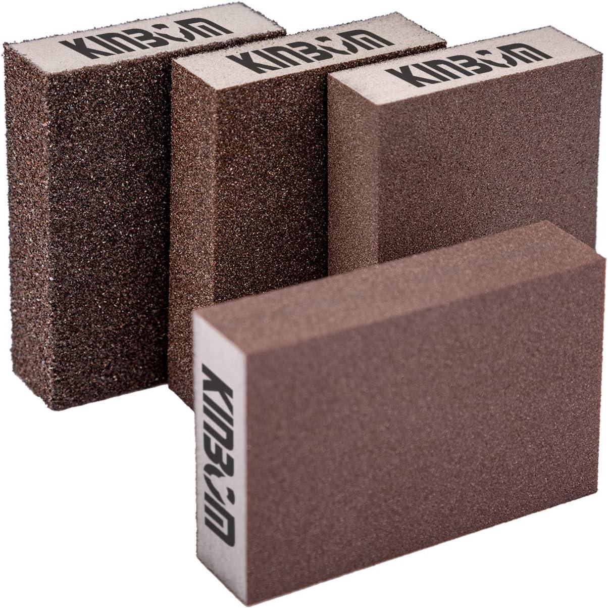 KINBOM - 4 esponjas de lijado en seco y húmedo (4 bloques: grueso/medio/fino/superfino)