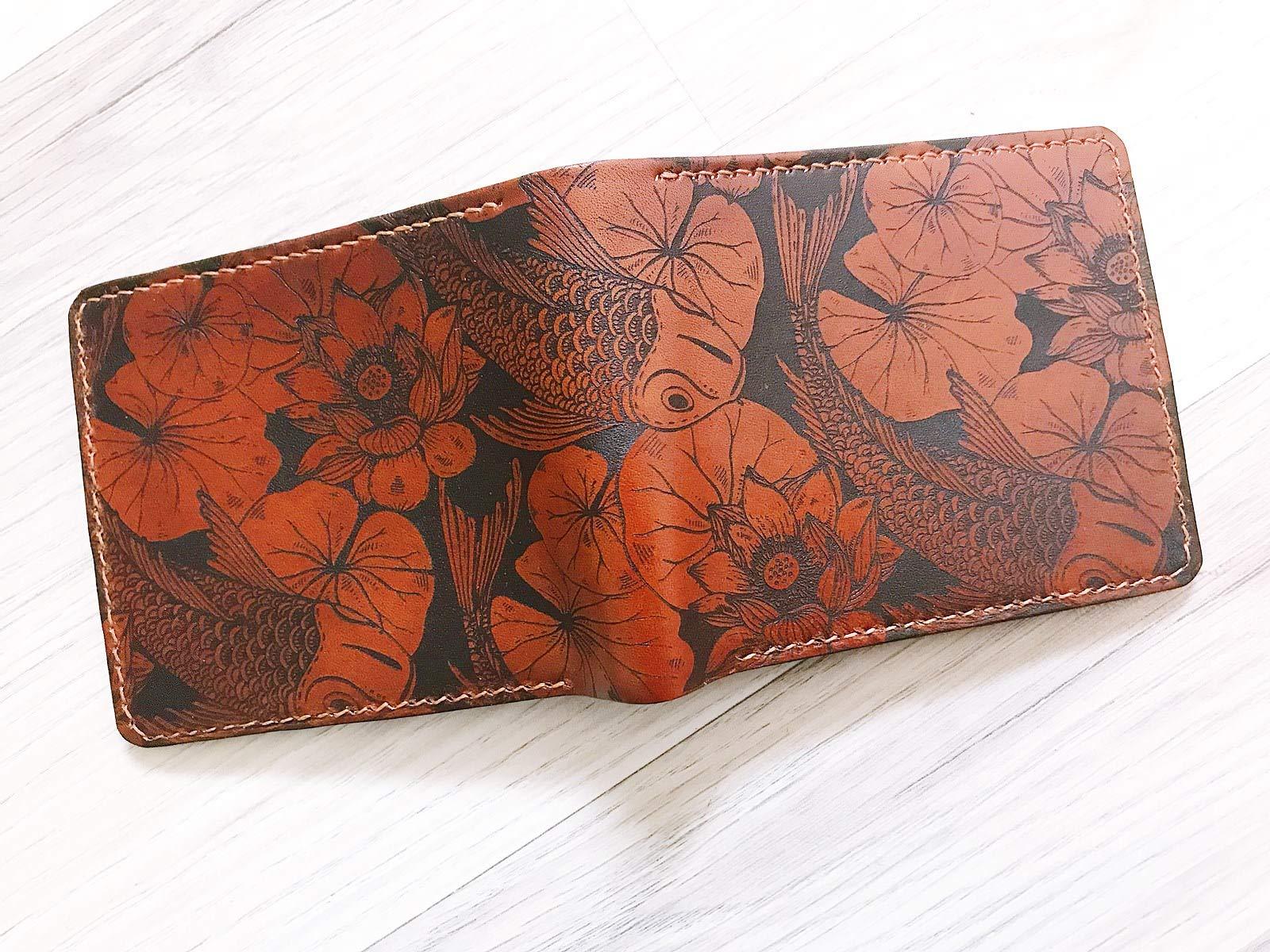 Unik4art - Koi Fish Japanese leather handmade mens wallet anniversary gift - 4LE