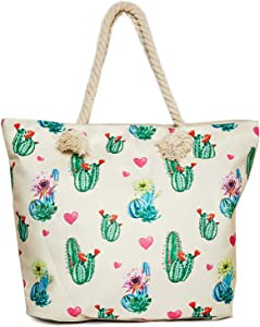 Cactus Beach Shoulder Tote Bag - Cactus Beige Weekender Travel Bag - Comes with Quick Reach Zipper Pouch