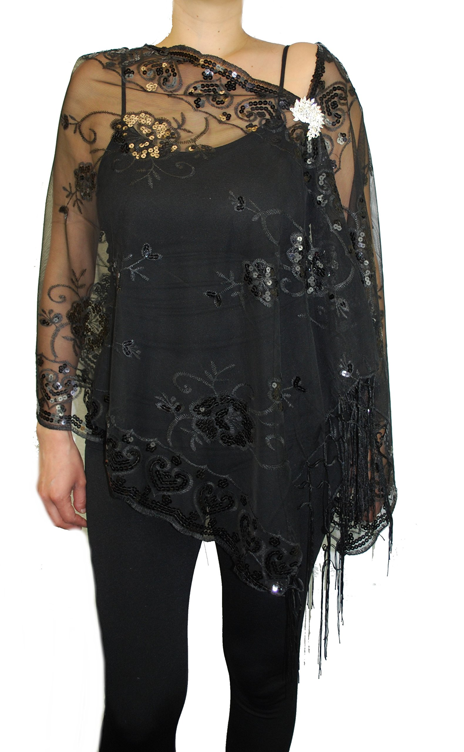 Womens Mother Of The Bride Floral Sequin Design Fashion Shawl With Brooch Poncho Cover up (Black)