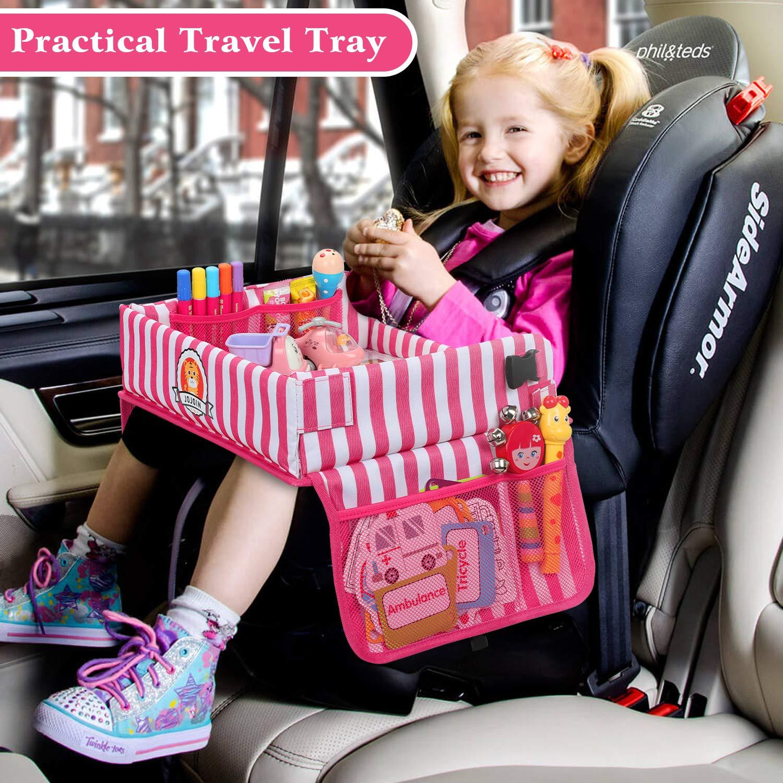 Jojoin Strisce Rosa Vassoio da Viaggio per Bambini Pieghevole e Regolabile Travel Snack e Play Tray da Viaggio con 5 Carte per Pittura e 6 Penne Colorate