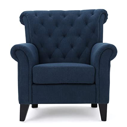 Ordinaire Alpha Dark Blue Fabric Tufted Chair