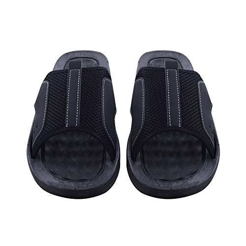 Skysole Mens Rugged Slide Sandals with Mesh Upper Black/Black 10 D(M) US