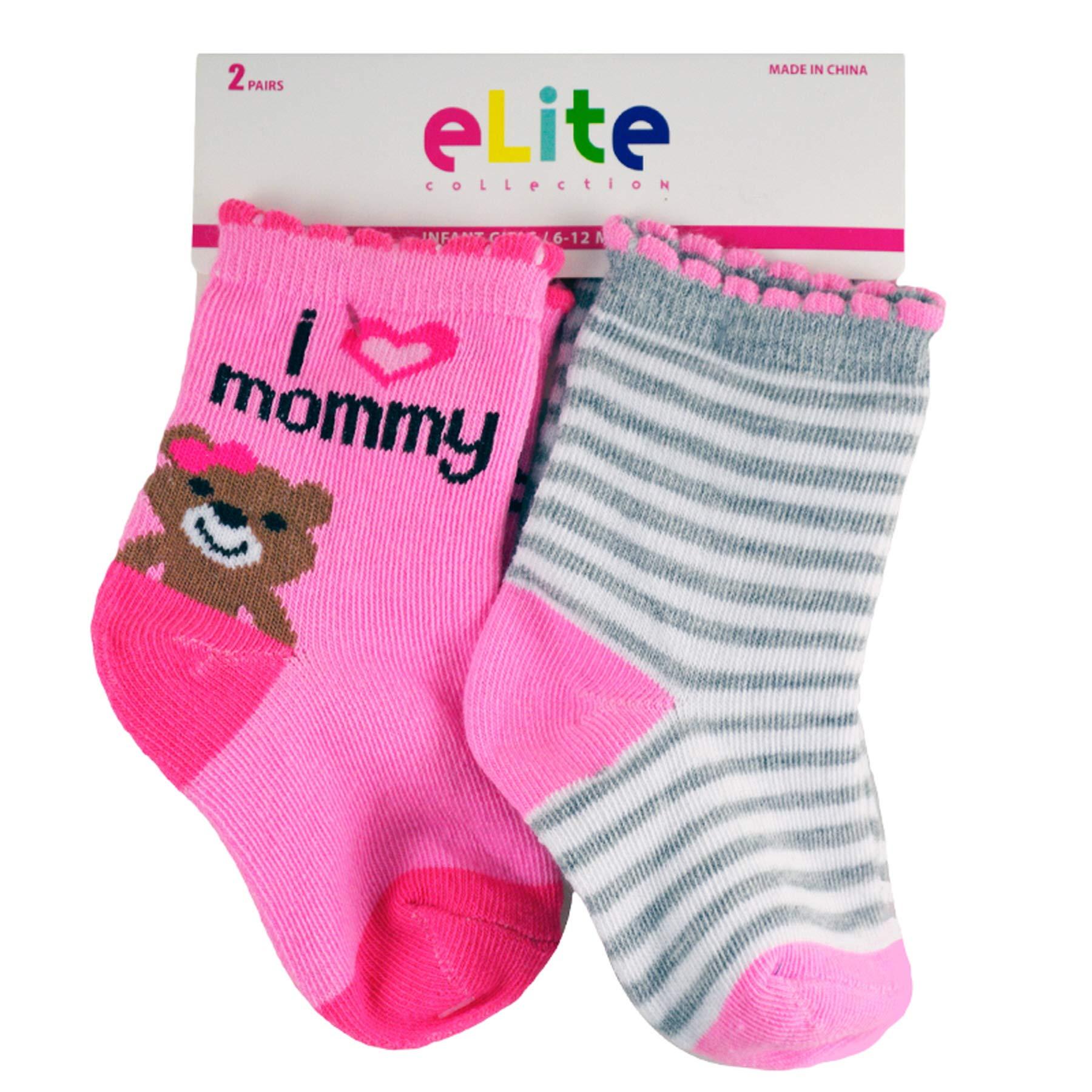 (72 Socks) Elite Girls Socks Baby/Infants Assorted Sizes by Elite Socks