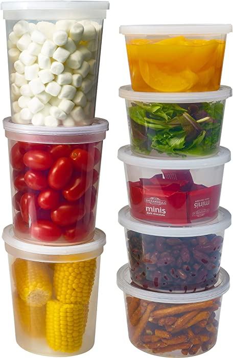 DuraHome Deli Containers with Lids for Food Storage Leakproof - 46 Sets BPA-Free Plastic Microwaveable Clear Food Storage Container Premium Quality, Freezer & Dishwasher Safe (Mixed - 16oz & 32oz.)