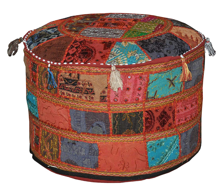 GANESHAM Footstool Pouf Ottoman Indian Living Room Decor Hippie Patchwork Bean Bag Boho Chic Bohemian Hand Embroidered Ethnic Handmade Vintage Cotton Floor Pillows & Cushion 22- Dia. 14- Height