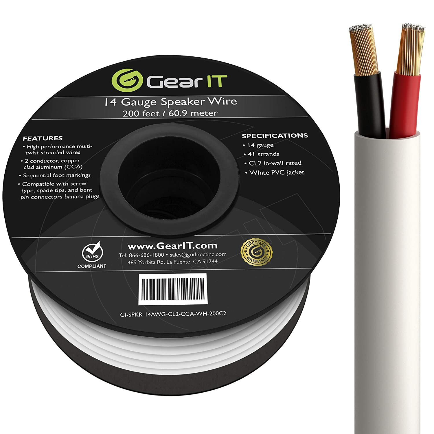 GearIT Pro Series 14 Gauge 2-Conductor Speaker Wire (200 Feet / 60.96 Meters) CCA Speaker Wire CL2 Rated for in-Wall Speaker Cable, White