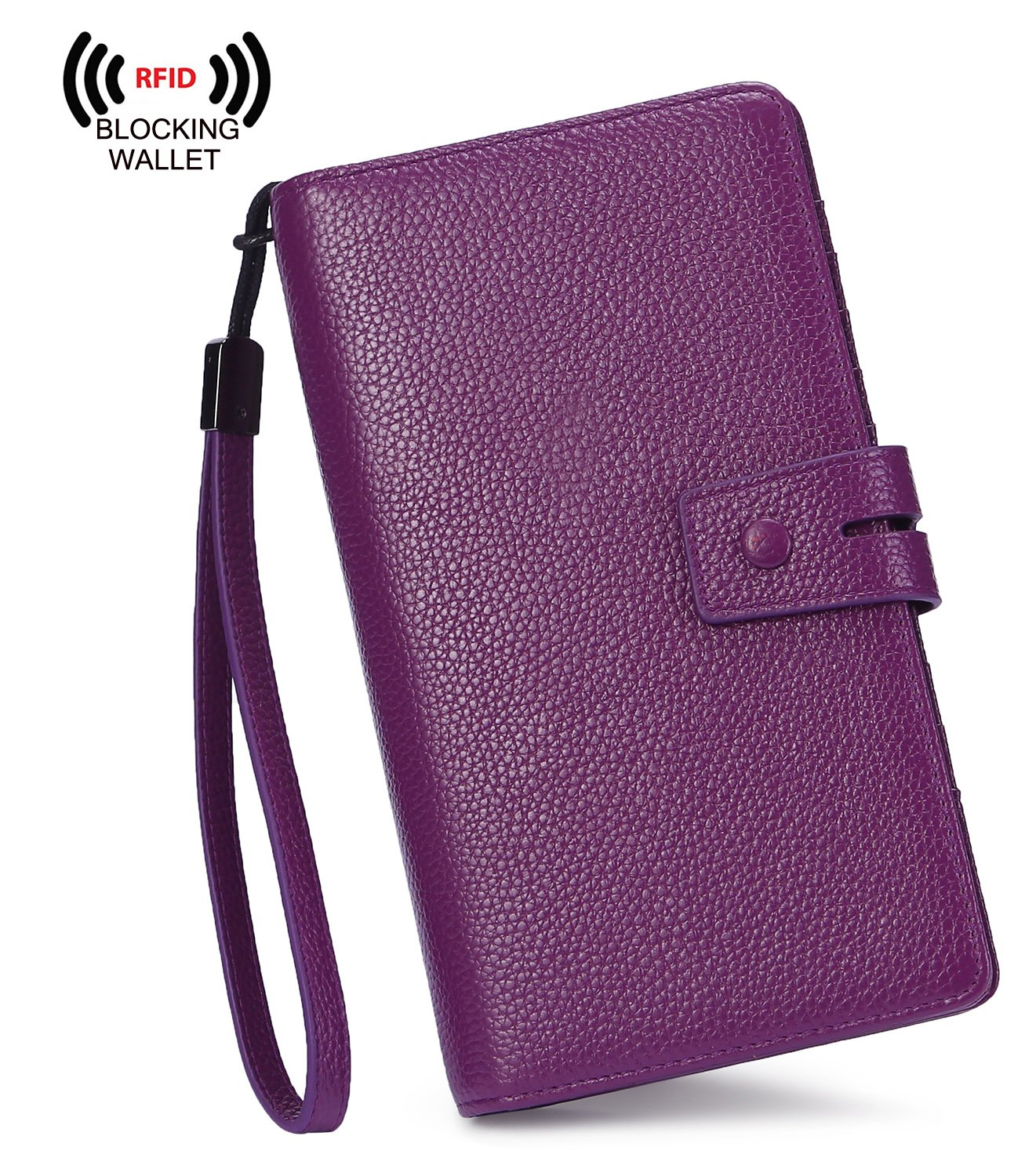 AINIMOER Women's Big RFID Blocking Leather Zip Around Wallets for Womens Clutch Organizer Checkbook Holder Large Travel Purse(Lichee Purple) by AINIMOER (Image #2)