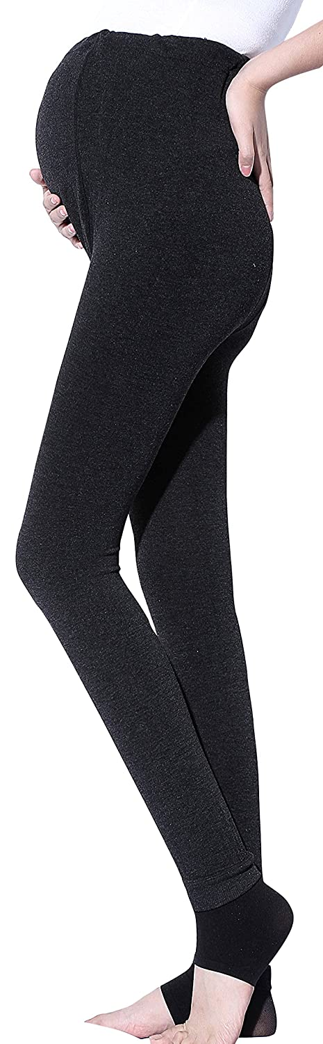 Sindy Women' s Super Soft Maternity Leggings Winter Tights with Open Toe Black)