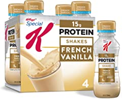 Kellogg's Special K Protein Shakes, Meal Replacement, High Protein, Gluten-Free Snacks, French Vanilla, 40oz Pack (4 Bottles)